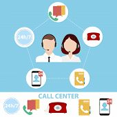 Call Center, Call Center Logo. Obtaining Information From The Call Center. Flat Design, Vector Illus poster