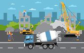Under Construction Banner With Construction Machinery Illustration. Road Repair, Maintenance And Con poster