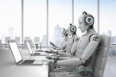 3d Rendering Humanoid Robot Working With Headset And Notebook poster