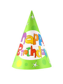 foto of birthday hat  - Birthday party hat isolated on white background - JPG