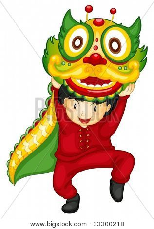 Illustration of a boy dancing with dragon