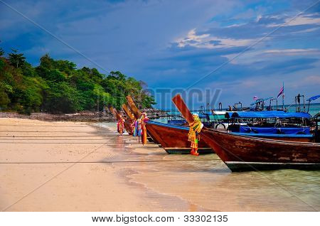 Traditional boats in Thailand beach