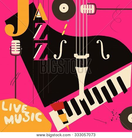 poster of Jazz Music Festival Poster With Piano And Microphone Flat Vector Illustration Design. Colorful Music