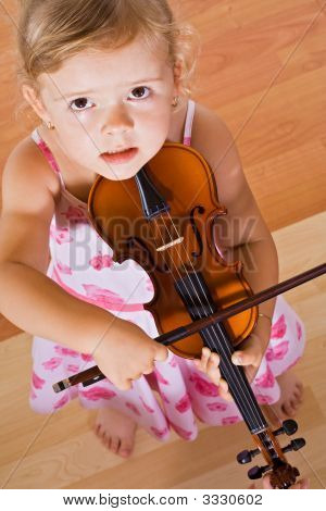 Little Girl With A Violin - Top View
