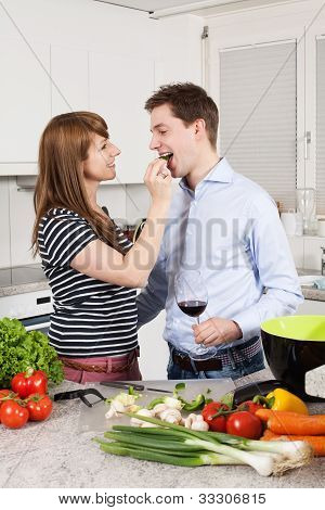 Couple In Love Preparing A Meal