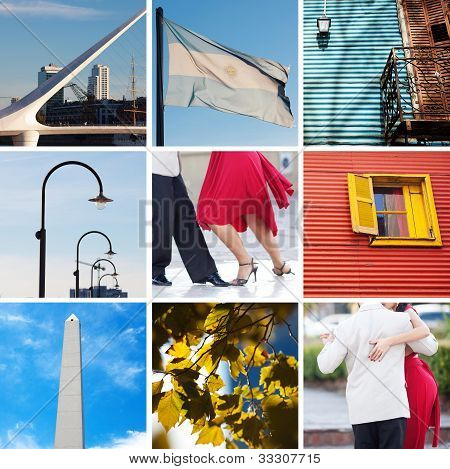 Collage Of Sights And Traditions Of Buenos Aires