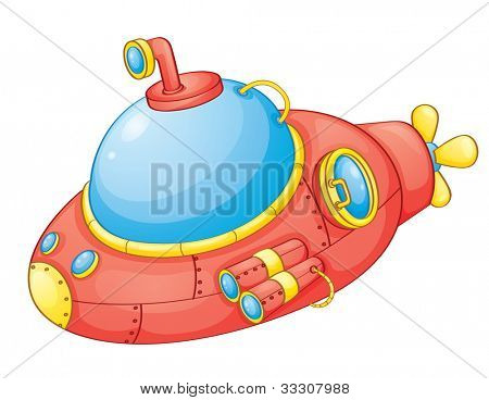 Illustration of a red submarine - EPS VECTOR format also available in my portfolio.