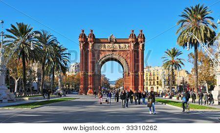 BARCELONA, SPAIN - DECEMBER 18: Arc de Triomf on December 18, 2011 in Barcelona, Spain. Designed by Josep Vilaseca, it was built for the 1888 Universal Exposition as its main access gate