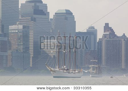 HOBOKEN, NJ - MAY 23: The Juan Sebastian De Elcano (Spain) sails on the Hudson River by Manhattan during the Parade of Sail on May 23, 2012 in Hoboken, NJ. The parade is the start of Fleet Week.