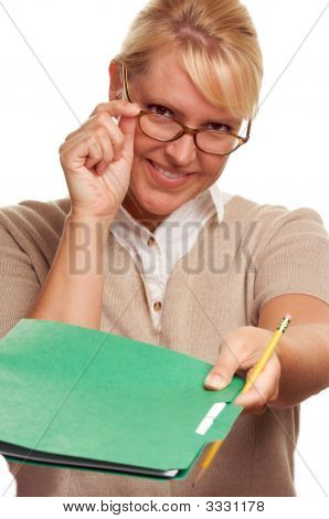 Beautiful Woman Hands Over Pencil & Folder