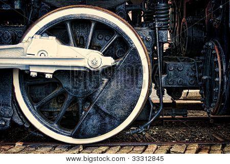 Old Steam Locomotive Vintage Drive Wheel Grunge