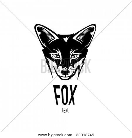 Fox head, engraving style illustration