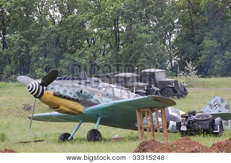 KIEV, UKRAINE -MAY 13: Red Star history club. German military airplane Bf-109 (replica) during historical reenactment of WWII, May 13, 2012 in Kiev, Ukraine