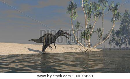 suchomomis dinoaurus on shore