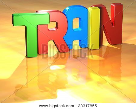 Word Train On Yellow Background