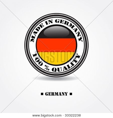 "Label ""made in Germany 100% quality"" with Germany flag in rubber stamp"