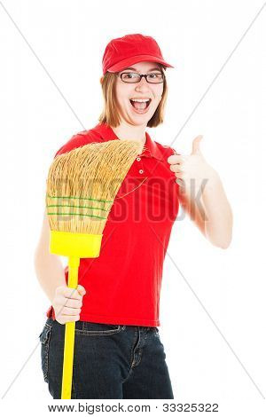 Teenage girl holding a broom, excited about her first job.  Isolated on white.