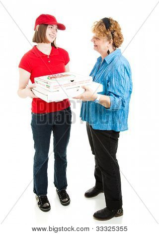 Teenage girl delivering pizza to a customer.  Full body isolated on white.  Pizza box is generic, not branded.