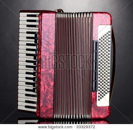 Retro accordion on grey background