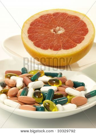 Drugs And Fruits, Closeup, Isolated