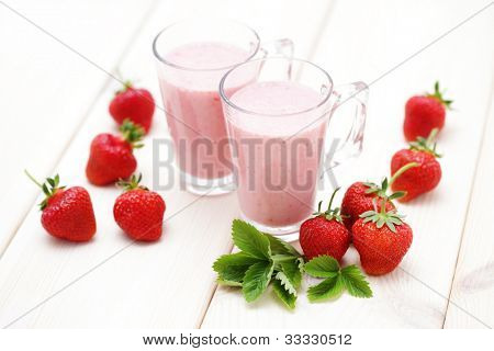 delicious strawberry smoothie - food and drink