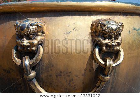 Lion Handles On Water Vat, Forbidden City, Beijing