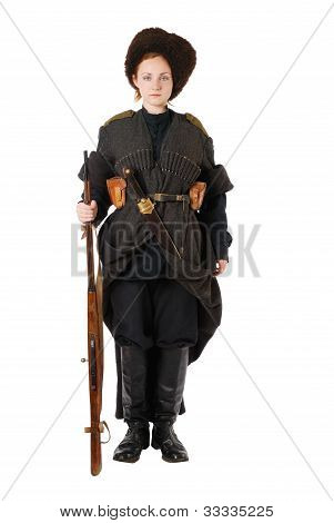 Russian Cossack Standing At Attention. The Living History.