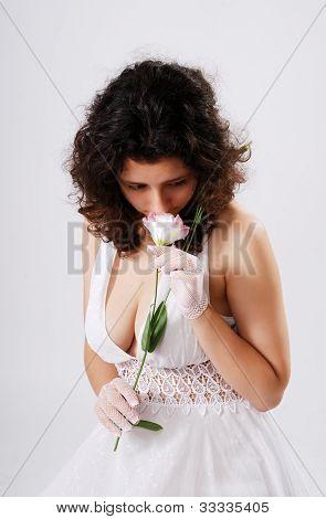 Bosomy Girl In Low-necked Dress.