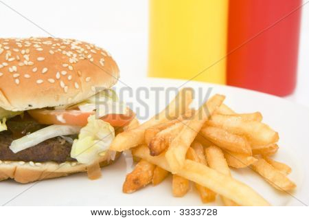 American Hamburger With French Fries
