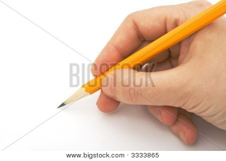 Writing With Pencil Isolated