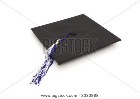 Graduation Cap With Blue And White Tassel