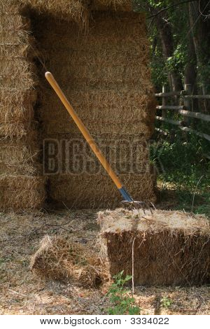 Hay Bails And Pitch Fork