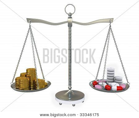 Group Tablets And Gold Coins On Balance Scales. Isolated On White Background