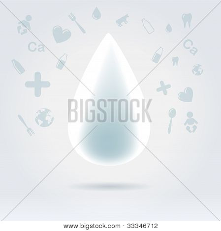 White Glowing Drop Of Milk With Topic Icons