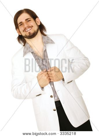 Happy Young Man In White Suit