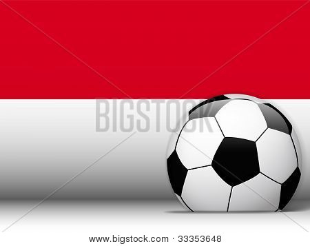 Monaco Soccer Ball With Flag Background