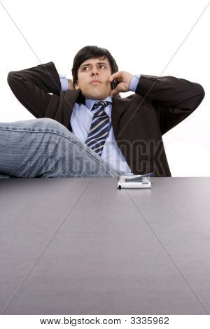 Young Businessman Relaxing On The Phone