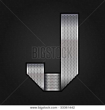 Letter metal chrome ribbon - J