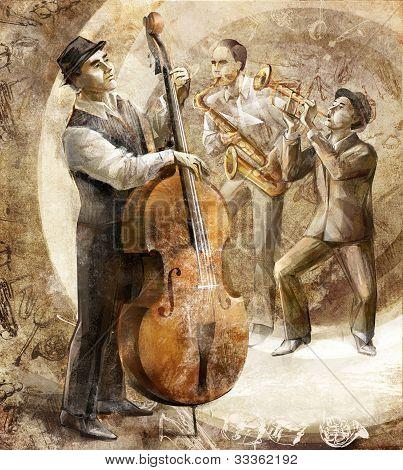 jazz band on the retro background