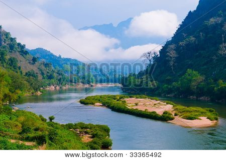 Nong Khiaw River, Northern Of Laos