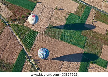 Aerial View Of Hot Air Balloons