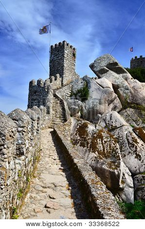 Moors Castle Surrounding Walls, Sintra In Portugal