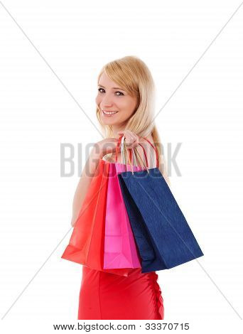 Woman Smiling Holding Shopping Bags