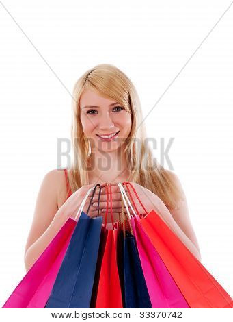 Lovely-stylish-woman-with-shopping-bags-over-white