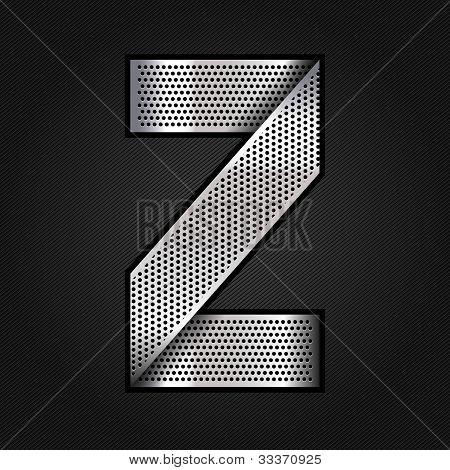 Letter metal chrome ribbon - Z