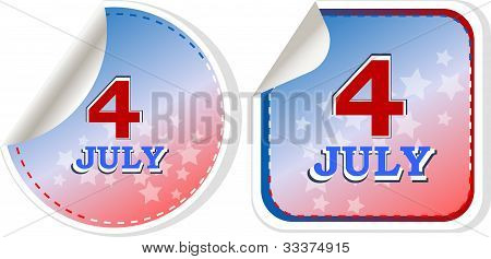 Independence Day Badge On Patriotic Background - Stickers Set
