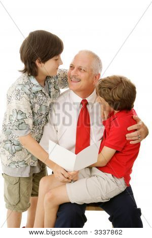 Father And Sons With Greeting Card