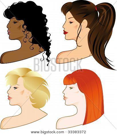 Set Of Girls Faces.eps