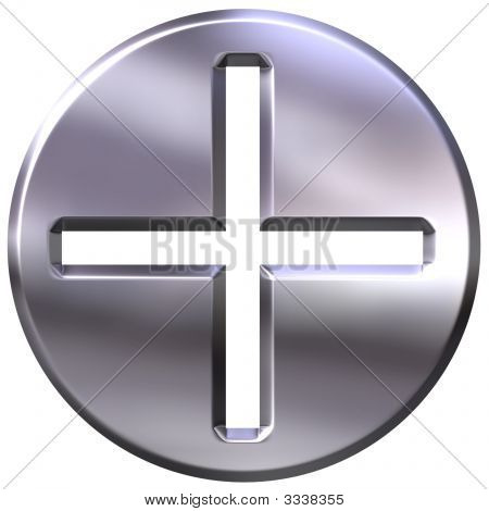 3D Silver Framed Addition Symbol