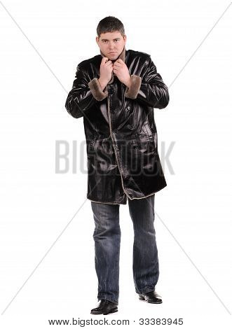 Studio Photo Of Trendy Young Man Standing On White Background